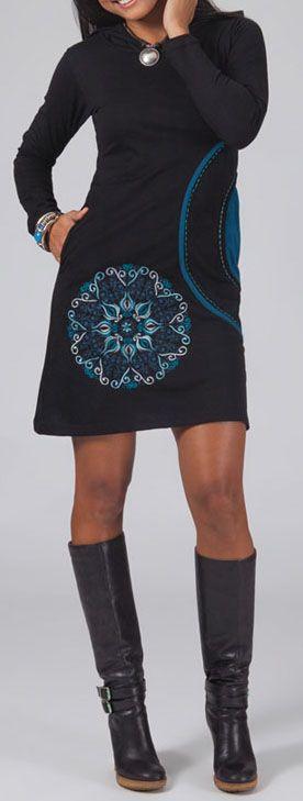 Robe courte noire et bleue à capuche imprimée ethnique Assia