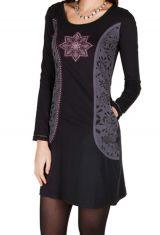 Robe courte noire et imprimé coloré 301200