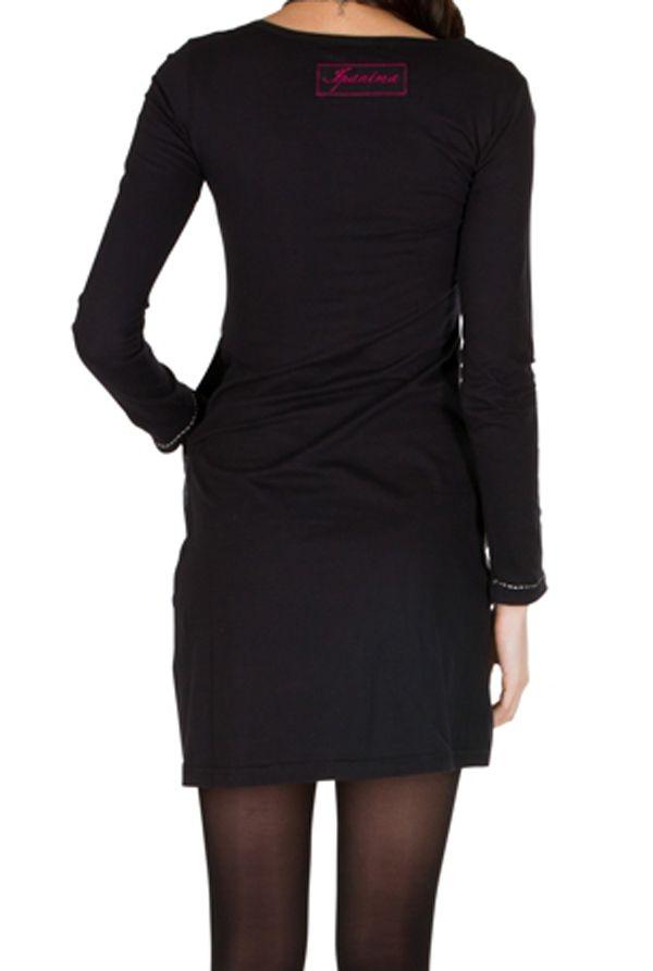 Robe courte noire et imprimé coloré 301202