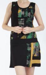 Robe courte noire et jaune sans manches chic et tendance Emily 304839