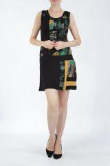 Robe courte noire et jaune sans manches chic et tendance Emily 304840