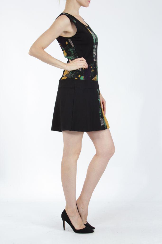 Robe courte noire et jaune sans manches chic et tendance Emily 304841