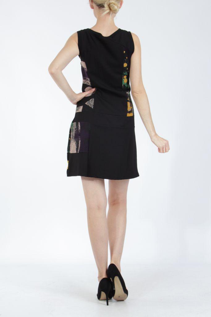 Robe courte noire et jaune sans manches chic et tendance Emily 304842