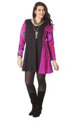 Robe courte Noire et Rose pour femme pulpeuse Colorée Boréal 286162