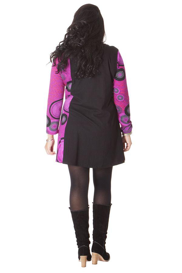 Robe courte Noire et Rose pour femme pulpeuse Colorée Boréal 286163
