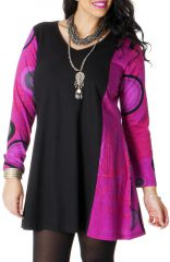 Robe courte Noire et Rose pour femme pulpeuse Colorée Boréal 286785