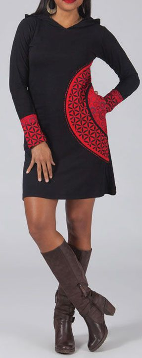 Robe courte noire et rouge à capuche imprimée ethnique Assia