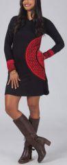 Robe courte noire et rouge à capuche imprimée ethnique Assia 274177