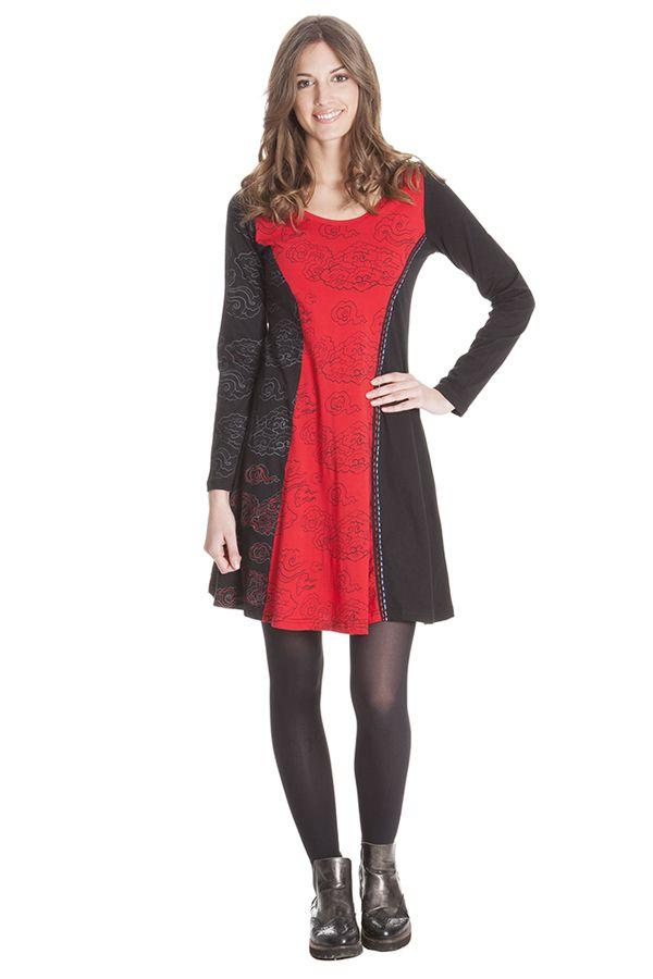 Robe courte Noire et Rouge Ethnique et Féminine Wendy 285335
