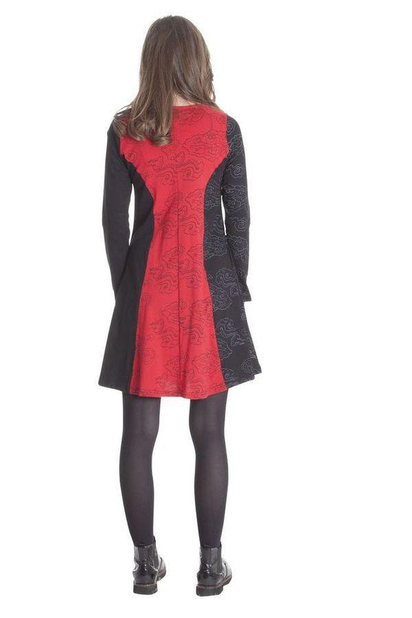 Robe courte Noire et Rouge Ethnique et Féminine Wendy 285336