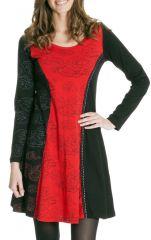 Robe courte Noire et Rouge Ethnique et Féminine Wendy 286827