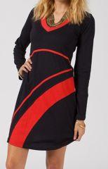 Robe courte noire et rouge pour femme très tendance Malavia 315029