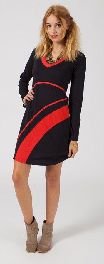 Robe courte noire et rouge pour femme très tendance Malavia 315030