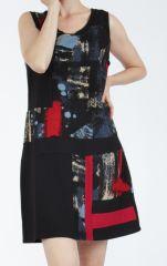 Robe courte noire et rouge sans manches chic et tendance Emily 304821