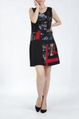 Robe courte noire et rouge sans manches chic et tendance Emily 304822