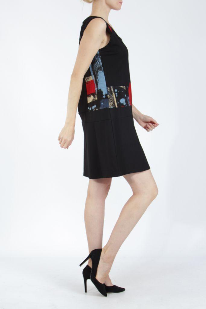 Robe courte noire et rouge sans manches chic et tendance Emily 304823