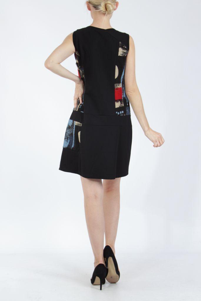 Robe courte noire et rouge sans manches chic et tendance Emily 304824