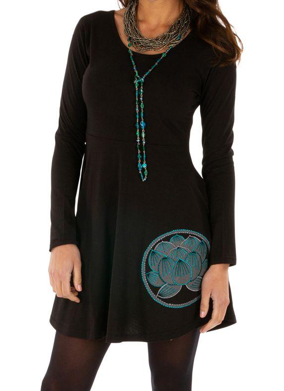 Robe courte noire ethnique style patineuse Ounkazi 313925