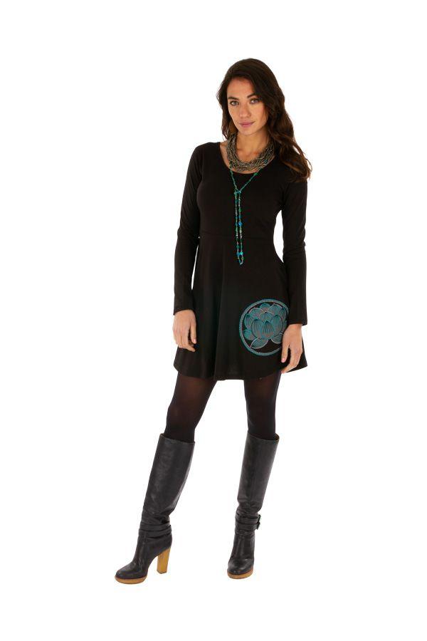 Robe courte noire ethnique style patineuse Ounkazi 313926