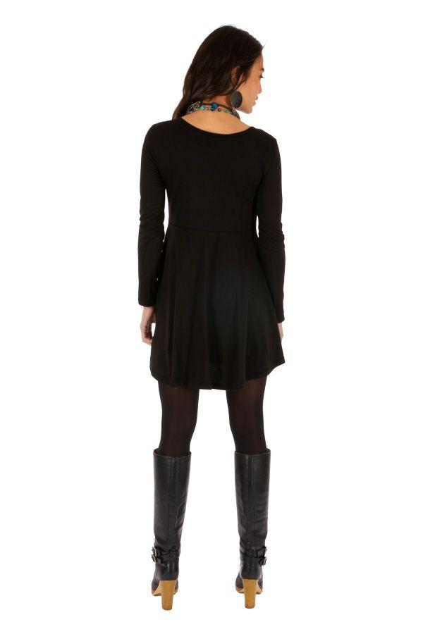 Robe courte noire ethnique style patineuse Ounkazi 313927
