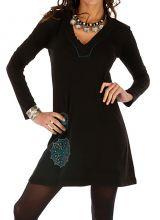 Robe courte noire femme chic ethnique fluide Salsa 313799