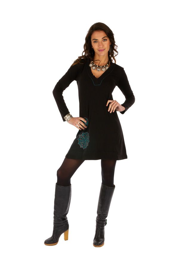 Robe courte noire femme chic ethnique fluide Salsa 313800