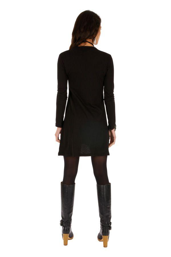Robe courte noire femme chic ethnique fluide Salsa 313801
