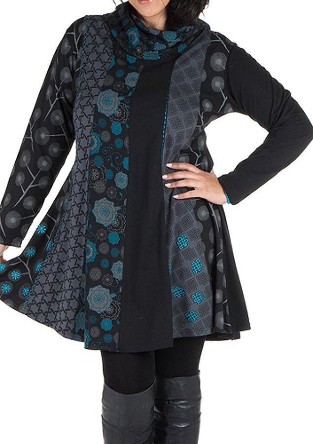 Robe courte noire grande taille à manches longues et col brodé Akers 302246