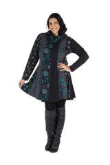 Robe courte noire grande taille à manches longues et col brodé Akers 302250