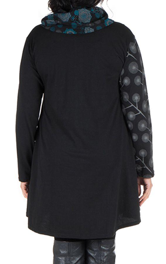 Robe courte noire grande taille à manches longues et col brodé Akers 302251