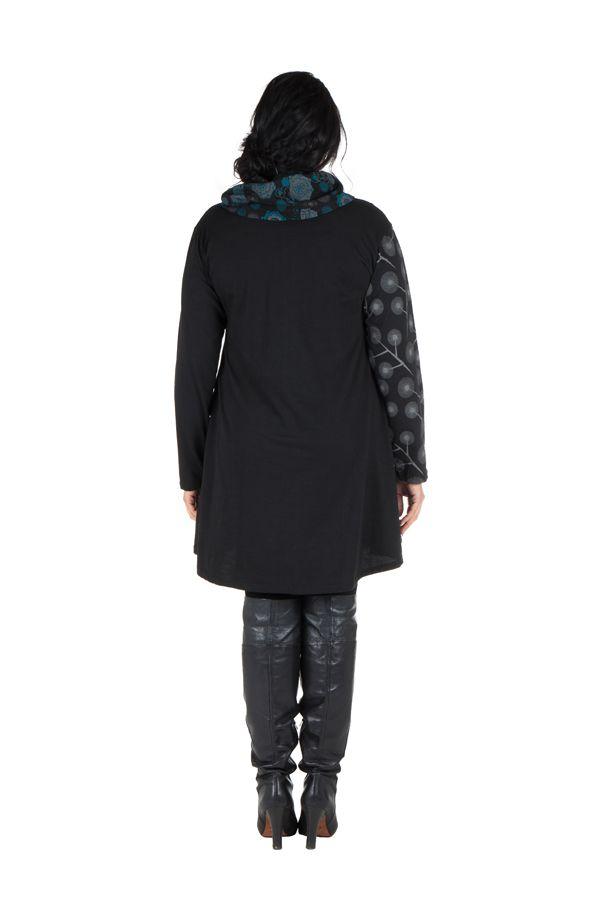 Robe courte noire grande taille à manches longues et col brodé Akers 302252