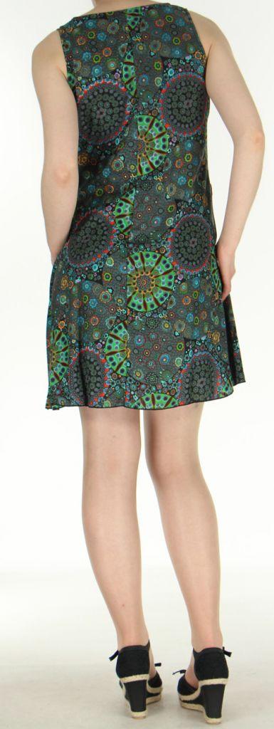 Robe courte noire imprimée de fleurs en viscose Lalou 270489