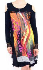 Robe courte noire originale à épaules dénudées Lucia 302615