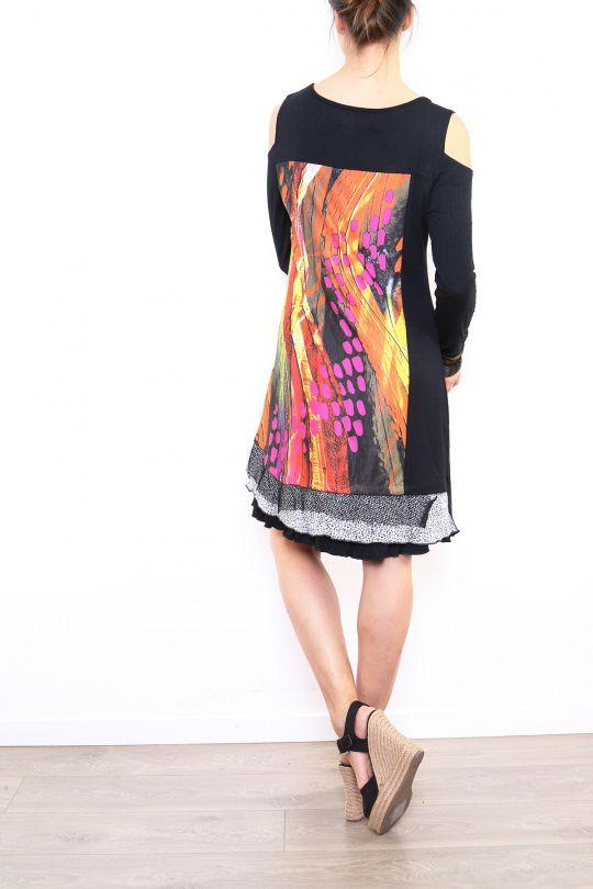 Robe courte noire originale à épaules dénudées Lucia 302618