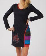 Robe courte noire pour femme ethnique et originale Bamisa 315011