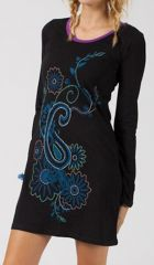 Robe courte noire pour femme stylée et bohème Zalamba 315079