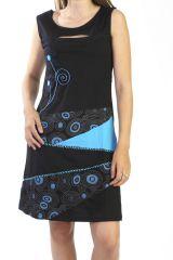 Robe courte noire sans manches avec un patchwork 287884