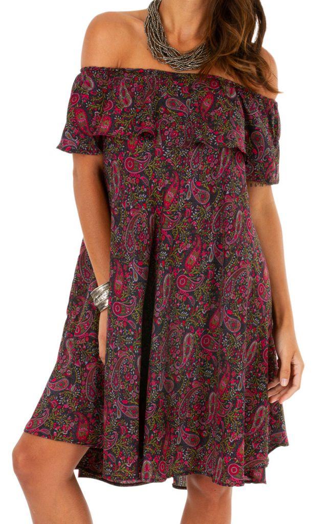 Robe courte originale à encolure bardot look ethnique Maggy 306296