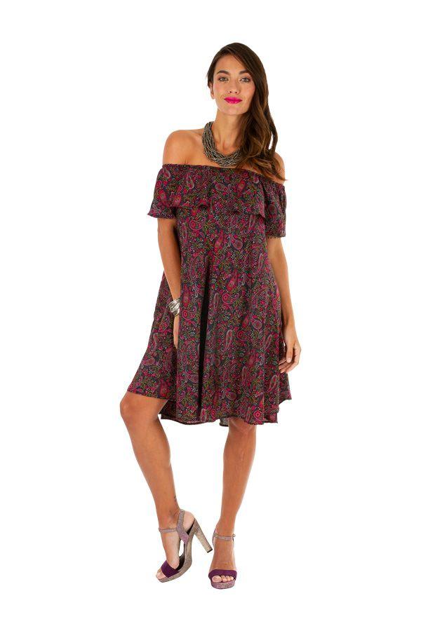 Robe courte originale à encolure bardot look ethnique Maggy 306297