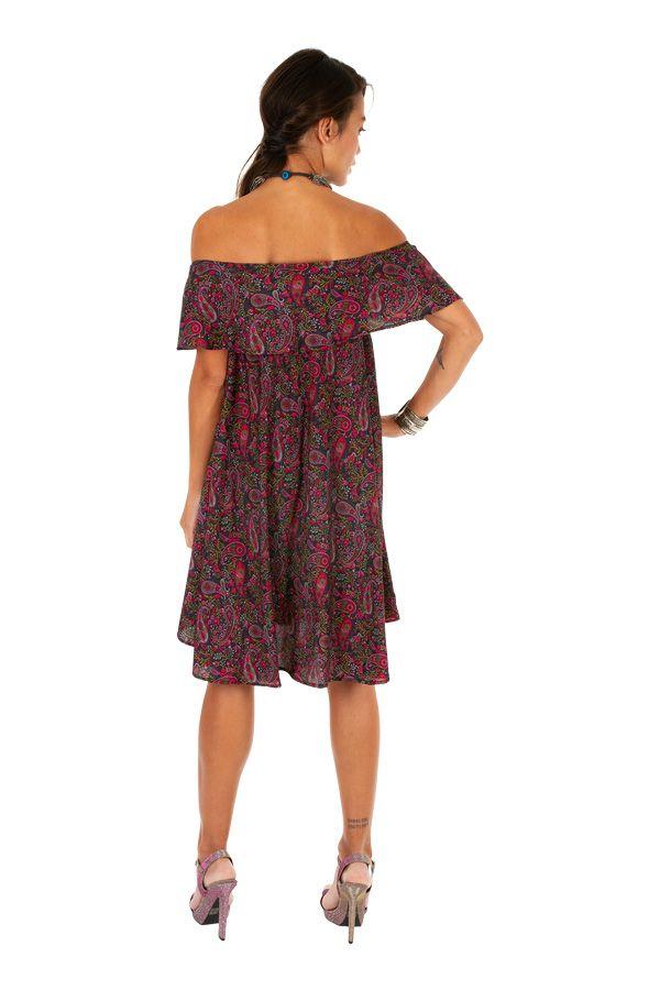 Robe courte originale à encolure bardot look ethnique Maggy 306298
