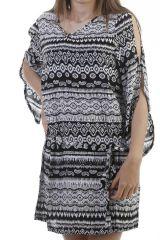 Robe courte originale a manches ajourées noire et blanche Twenty 296771