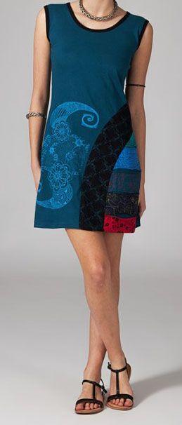 Robe courte originale bleue en coton 268991