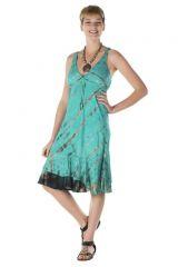 Robe courte originale été femme col V bleue Mahelia 288162