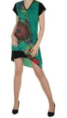 Robe courte originale verte casual chic 245772