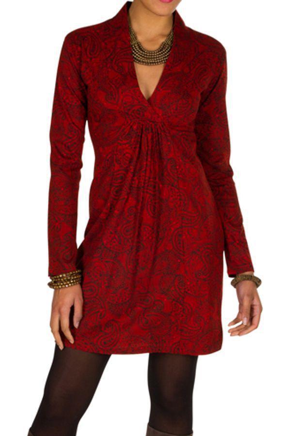 Robe courte paisleys et col style cache-coeur drapé Patty 301029