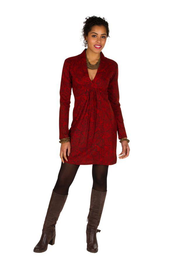 Robe courte paisleys et col style cache-coeur drapé Patty 301034