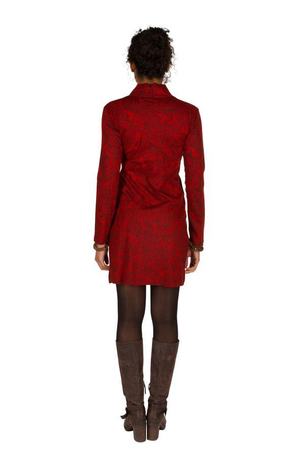 Robe courte paisleys et col style cache-coeur drapé Patty 301036