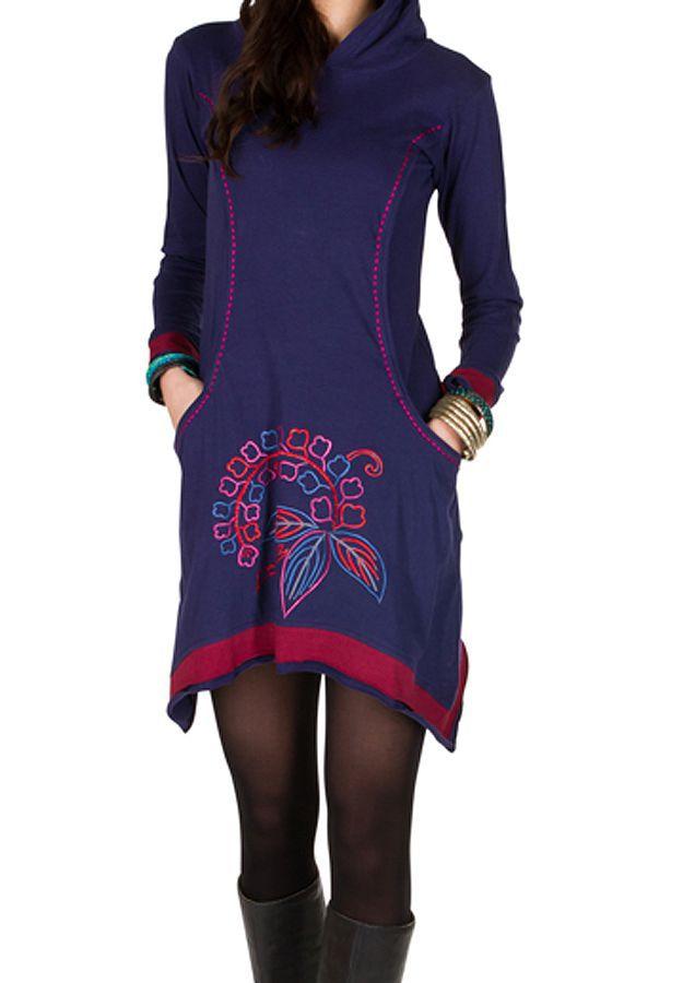 Robe courte polaire Violette coupe asymétrique avec broderie Cinderella 298891