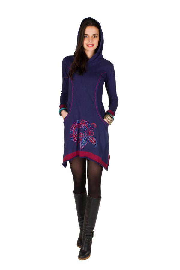 Robe courte polaire Violette coupe asymétrique avec broderie Cinderella 298892