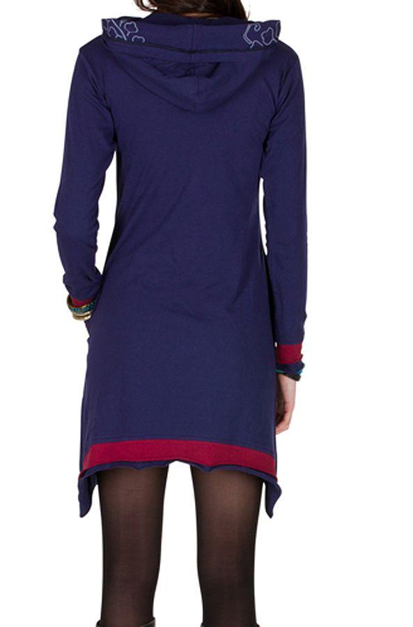 Robe courte polaire Violette coupe asymétrique avec broderie Cinderella 298893